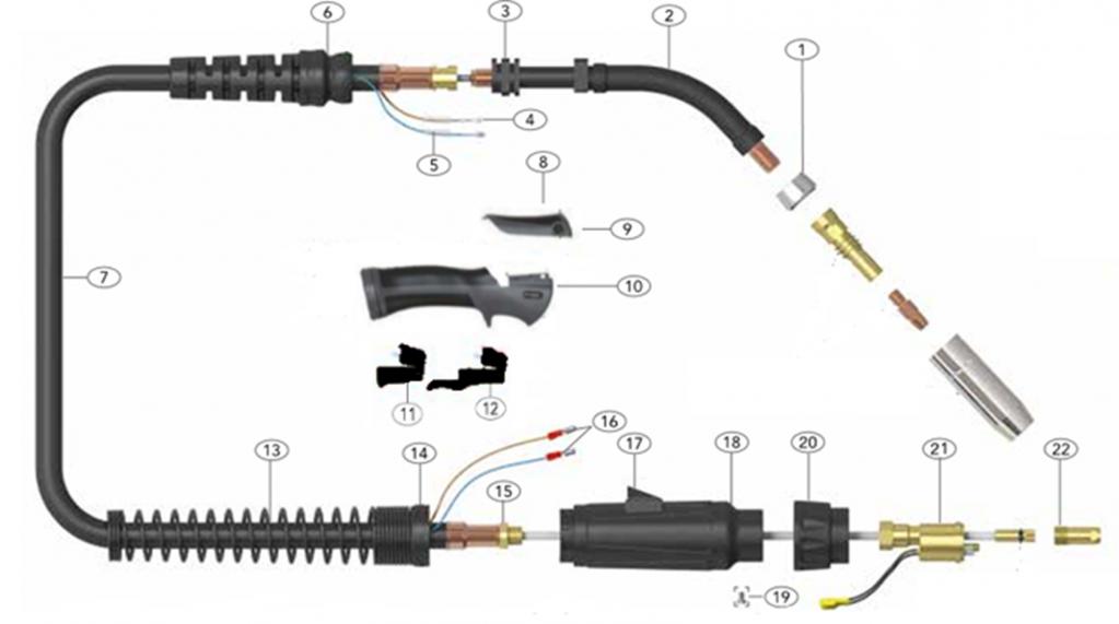 схема строения горелки сварочной для полуавтоматической сварки с воздушным охлаждением и силой тока 450А